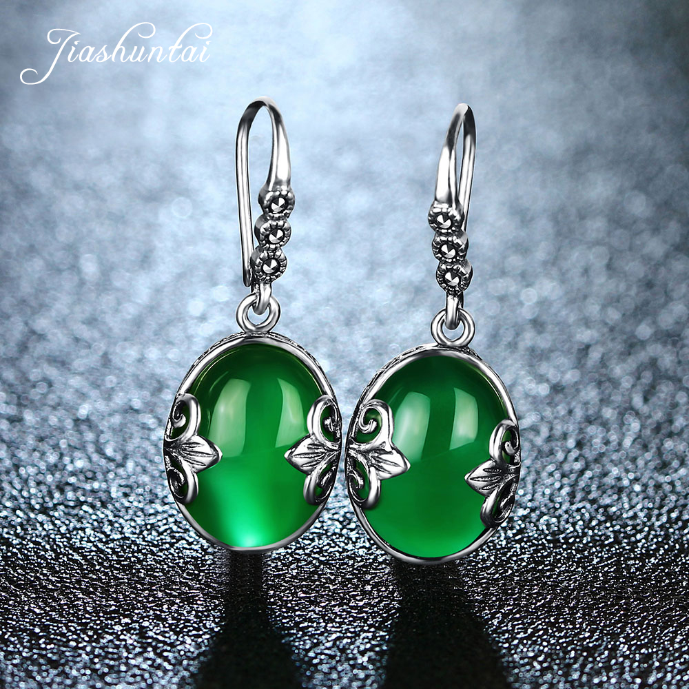 JIASHUNTAI Retro 100% 925 Sterling Silver Earrings For Women Vintage Natural Green Chalcedony Gemstone Earrings Jewelry FemaleJIASHUNTAI Retro 100% 925 Sterling Silver Earrings For Women Vintage Natural Green Chalcedony Gemstone Earrings Jewelry Female