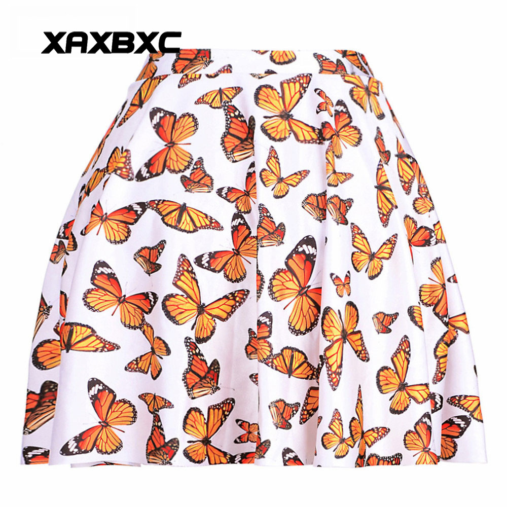 NEW 1073 Summer Sexy Girl Colorful fluttering butterfly Printed Cheering Squad Tutu Skater Women Mini Pleated Skirt Plus Size