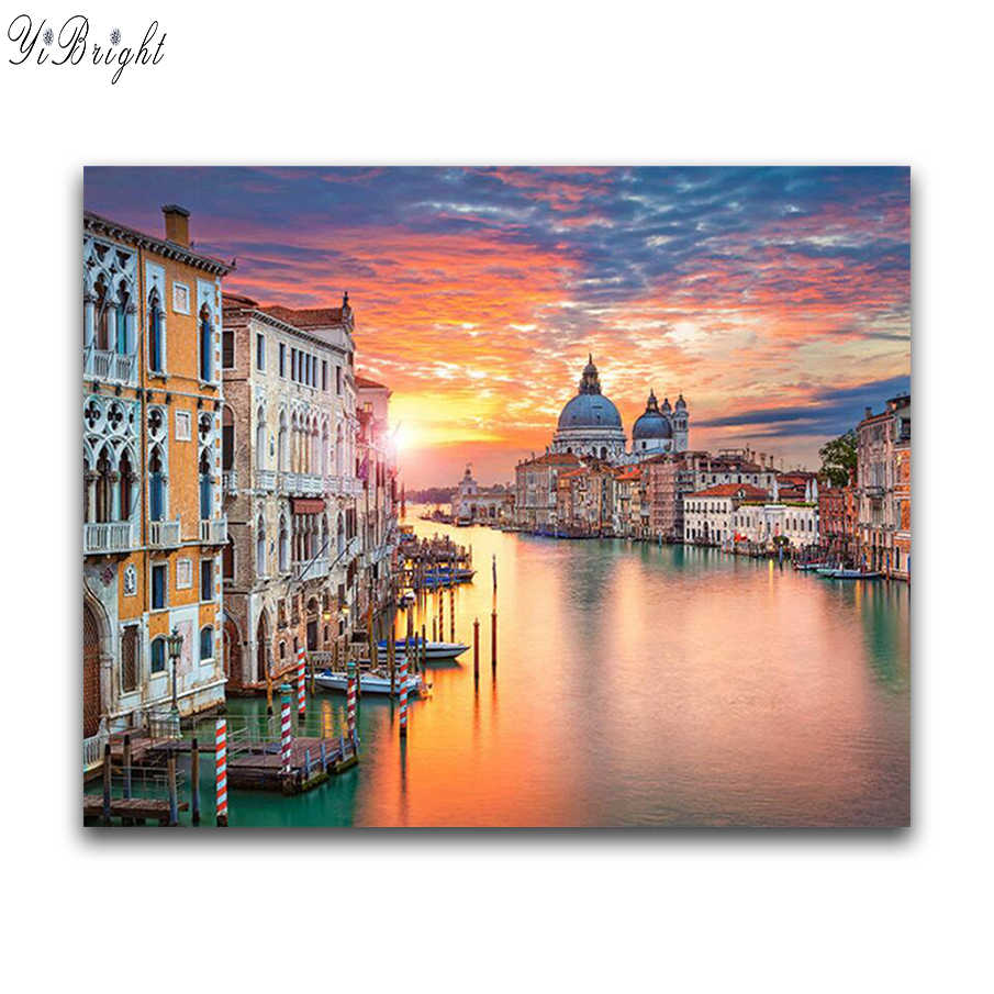 5D DIY Diamond Painting Cross Stitch Landscape Diamond Embroidery Venice Town Icons Room Decoration Full Drill Diamond Mosaic