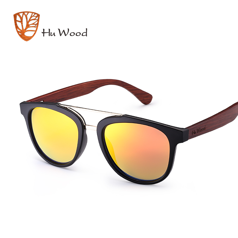 HU WOOD New Fashion Silver Mirror Lenses Sunglasses Bamboo Sunglasses Men Polarized Plastic Frame Driving Shade Blue GR8018