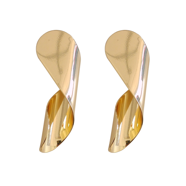 6eb36ce44 Europe and the United States minimalist metal texture creative design curve  fashion students exaggerated ear studs
