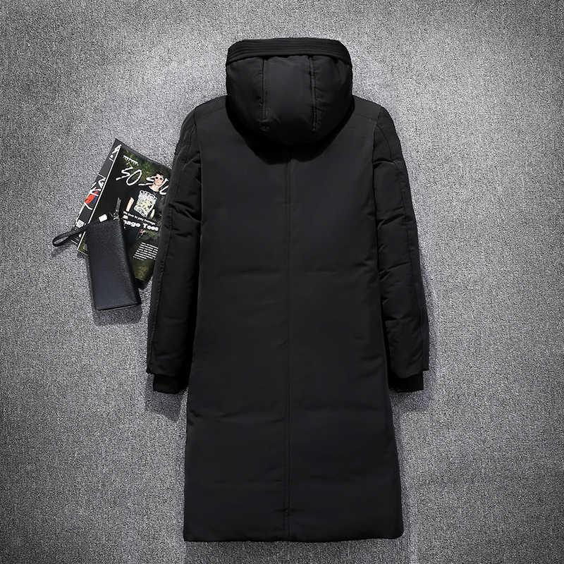 Con capucha para hombre Extra larga pato abajo chaquetas acolchadas hombre gruesa de invierno, abrigos de hombre de moda largo abrigo caliente prendas de vestir exteriores