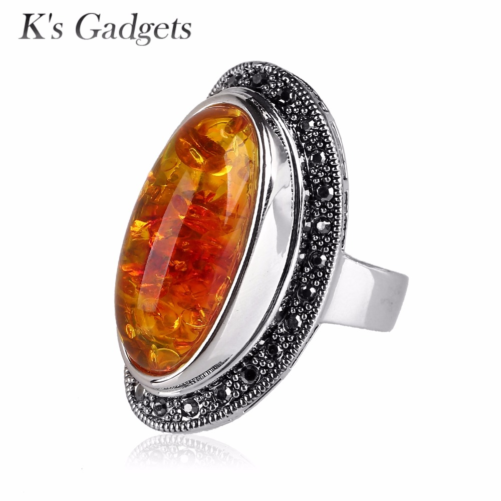 Simulated Resin Stone Ring Vintage Black Rhinestone Silver Plated Fashion Yellow Natural Stone Big Rings Women Jewelry oumily fashion yellow plated revo resin lens reflective sunglasses light green black