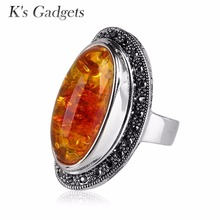 Simulated Resin Stone Ring Vintage Black Rhinestone Silver Plated Fashion Yellow Natural Stone Big Rings Women Jewelry