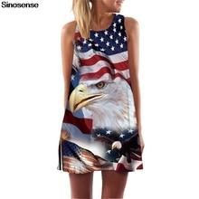 9f692432b6f3 New American Flag Eagle Dress 2019 Sleeveless A Line Summer Boho Style  Vintage Dress Casual 3D