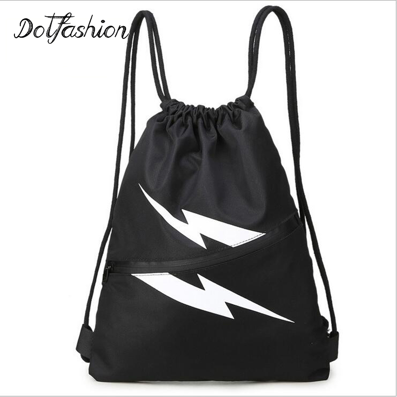 Drawstring Nylon Backpack School Solid Bag Black For Teenagers Girls Boy Back Pack Women Brand 2017