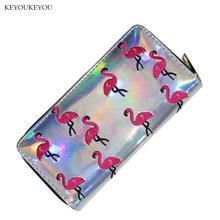 ФОТО zipper around long women's wallet flamingo embroidery ladies credit card phone coin pocket b17002