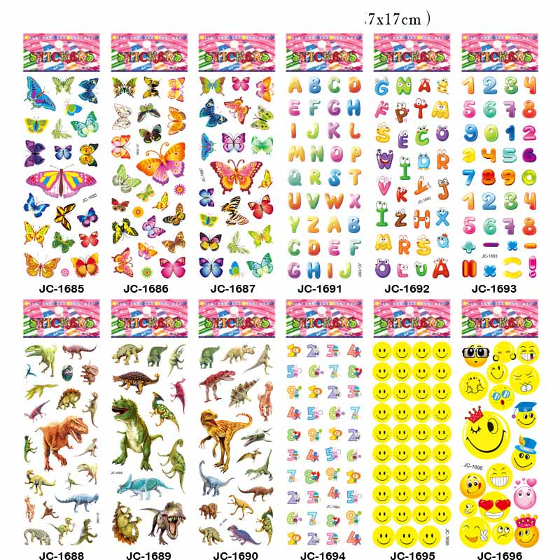 10pcs Children's Cartoon Stickers Kindergarten Reward Bubble Stickers Puzzle Early Education 3D Stickers kids cake car smile