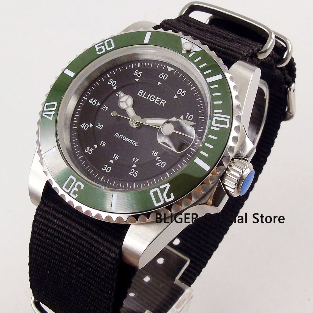 Casual BLIGER 40mm Black Dial Green Ceramic Bezel Luminous Pointer Sapphire Crystal Nylon Band Automatic Movement Mens Watch 13Casual BLIGER 40mm Black Dial Green Ceramic Bezel Luminous Pointer Sapphire Crystal Nylon Band Automatic Movement Mens Watch 13