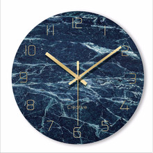 Minimalist wall clock quartz watch blue Marble texture Glass Wall Clocks Home Decoration Living Room Silent 12 inch