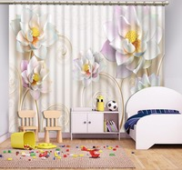 3D Curtain Natural Beautiful Lotus Background Beige Curtains Blackout Shade Window Curtains Small Curtain