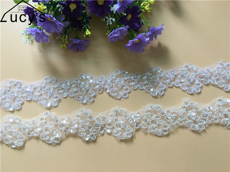 4.5CM 9 Yards/lot wholesale sequins lace trim small nice border lace trimming in Ivory a ...