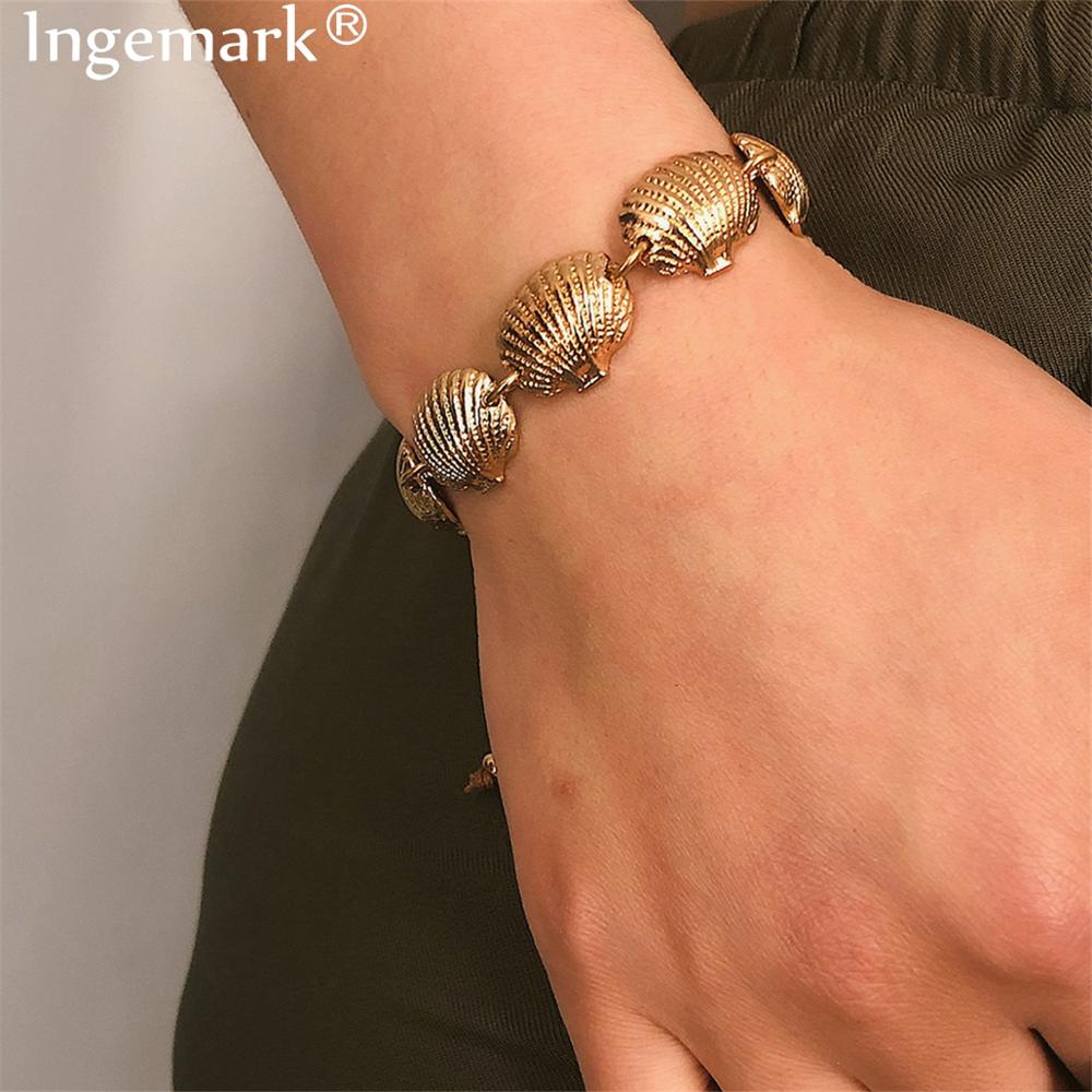 Ingemark Bohemian Alloy Full Cowrie Shell Bracelet Anklet Summer Beach Fashion Sea Woven Brown Bangle Women Jewelry 2019