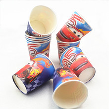 10pcs/lot  Lightning Mcqueen Paperboard Cup Kids Birthday/Christmas Theme Party Supplies