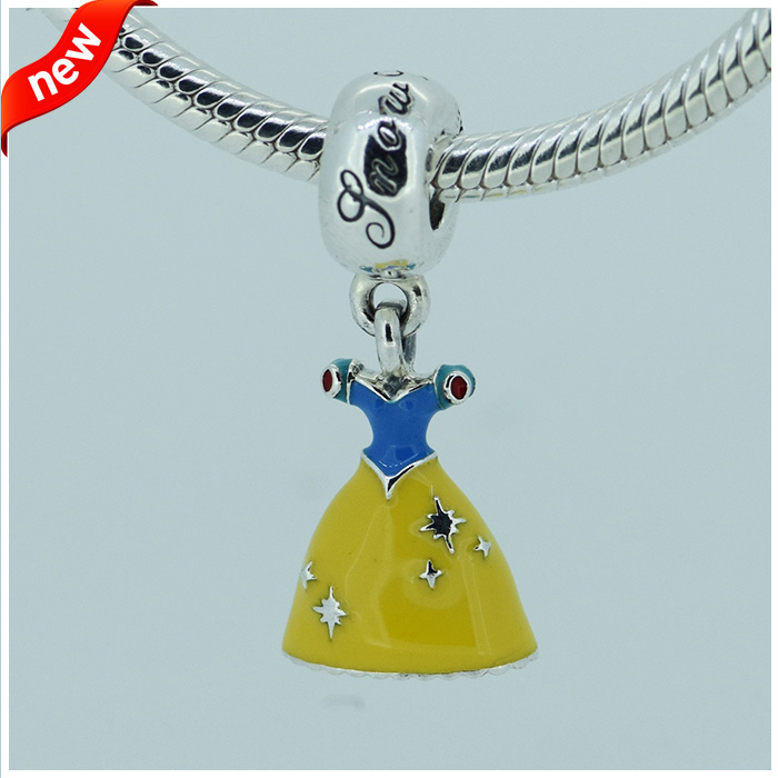 Fits For Pandora Braclets Snow White Dress Charms With Yellow Red Blue Enamel 100% 925 Sterling Silver Beads Free Shipping