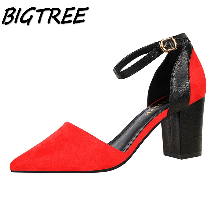 BIGTREE new women pumps high heels shoes woman Fashion Pointed Toe Mixed color party wedding Buckle Strap Square heel shoes women pumps flock high heels shoes woman fashion 2017 summer leather casual shoes ladies pointed toe buckle strap high quality