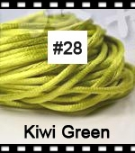 2.5mm 100yds/spool Kiwi Green (#28) Rattail Satin Cord Chinese Beading Polyester (similar but not nylon) Cord NCP5