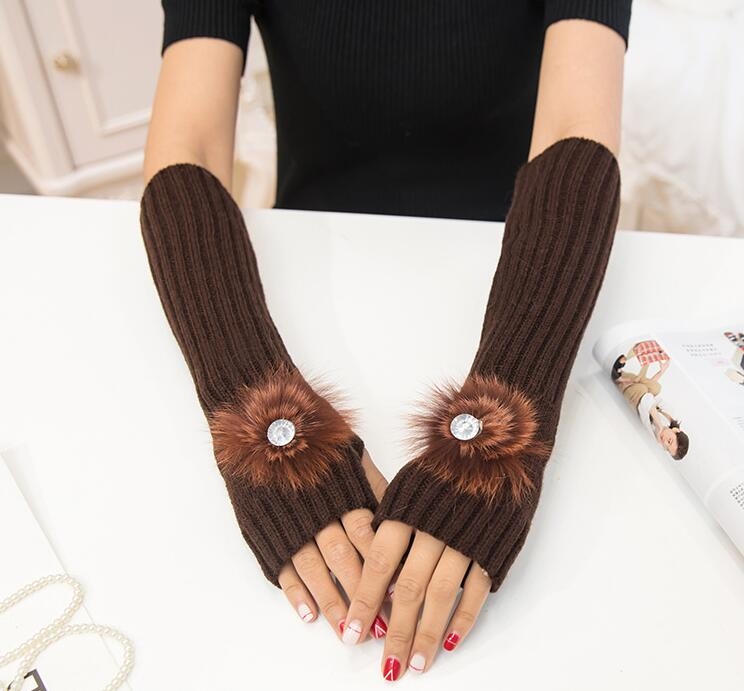 Women's Autumn And Winter Yarn Knitted Gloves Lady's Thicken Warm Fingerless Gloves Fur Ball Arm Sleeves R109