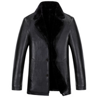New Mens Fur Leather Jackets Men S Coat Lapel Men Business Casual Leather Jacket Winter Style