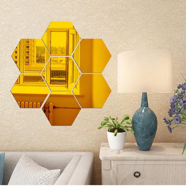7Pcs 3D Mirror Hexagon Vinyl Removable Wall Sticker Decal Home Decor ...