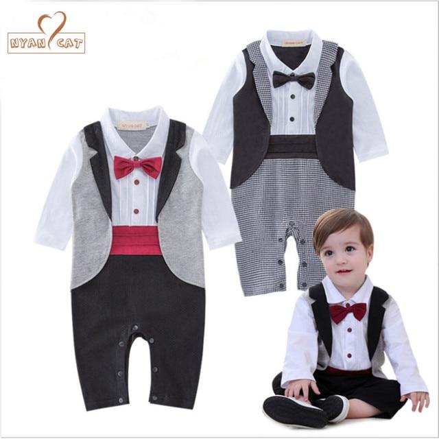NYAN CAT Baby tuxedo jumpsuit boy gentlemen bow tie rompers 2 colors long  sleeve plaid jumpsuit wedding birthday party clothes 53eee91051cf