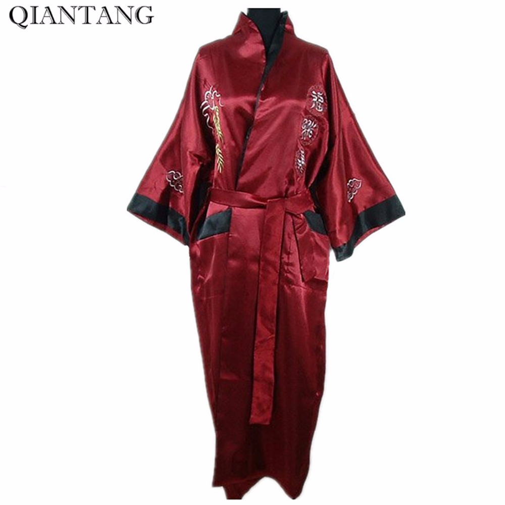 Burgundy Black Reversible Chinese Womens Satin Two-face Robe pijamas Embroidery Kimono Bath Gown Dragon One Size S3003&