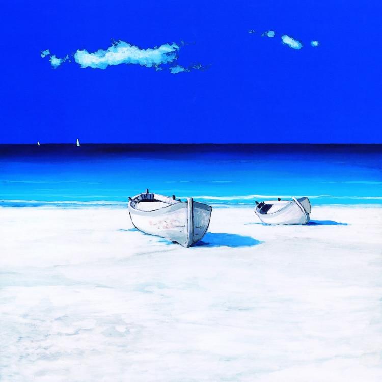 Əl ilə rənglənmiş mavi göy dənizkənarı görünüşü kətan - Ev dekoru