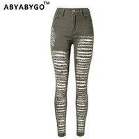 2016 Ladies Cotton Denim Pants Stretch Womens Ripped Hole Skinny Green High Waist Denim Jeans For