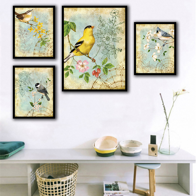 Nordic Posters Nursery HD Prints For Baby Room Beautiful Flower And Birds Wall Art Canvas Painting Picture Kids Bedroom Decor