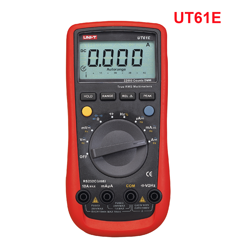 UNI-T UT61E auto range digital multimeter voltmeter Ammeter PC Connect AC DC Voltage resistance capacitance test 22000 Counts auto digital multimeter 6000counts backlight ac dc ammeter voltmeter transform ohm frequency capacitance temperature meter xj23