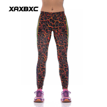 NEW KYK1076 Sexy Girl Women Volcanic Fire 3D Prints High Waist Polyester Fitness Leggings Pants Plus