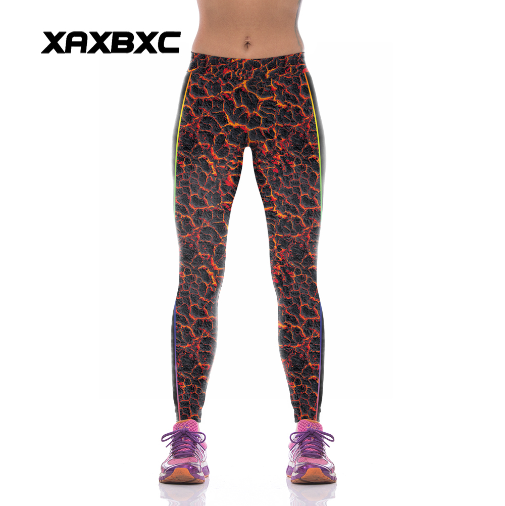 NEW KYK1076 Sexy Girl Women Volcanic Fire 3D Prints High Waist Polyester font b Fitness b