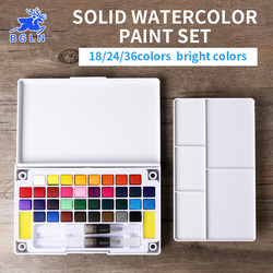 BGLN 18/24/36Color Solid Water Color Painting Set Box With Water brush Bright Color Portable Watercolor Pigment Set Art Supplies