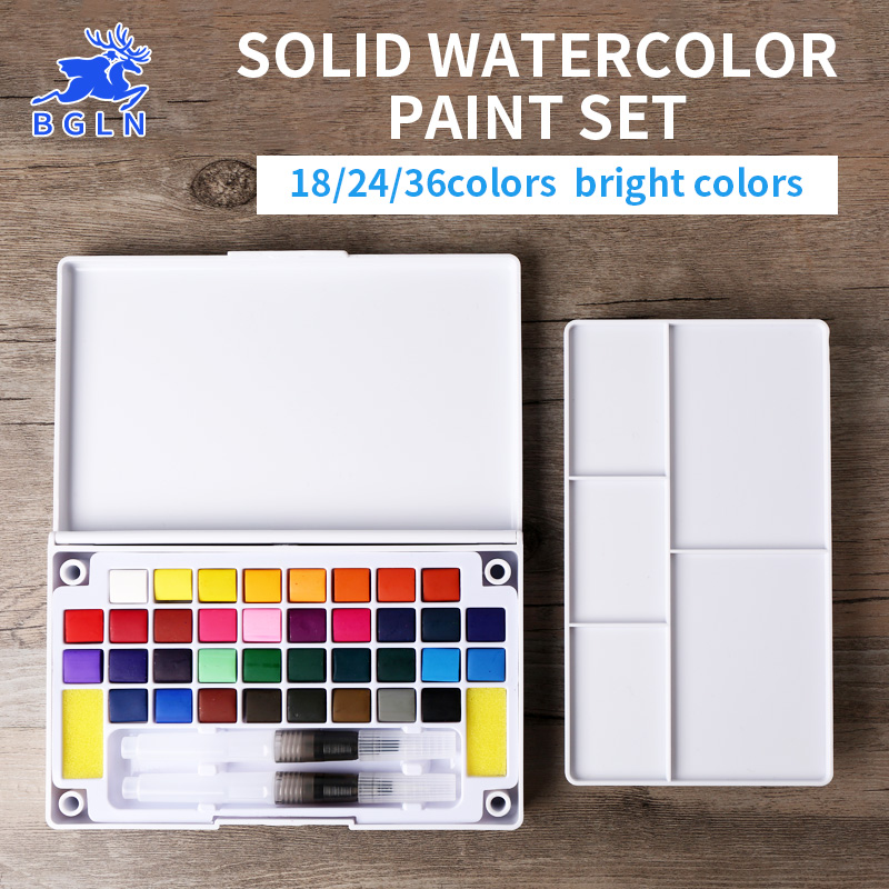 BGLN 18/24/36Colors Solid Watercolor Paint Set Box With Water brush Bright Color Portable Watercolor Pigment Set Art Supplies watercolor solid pigment paint set 24 colors with a separate palette and a water painting brush for art drawing