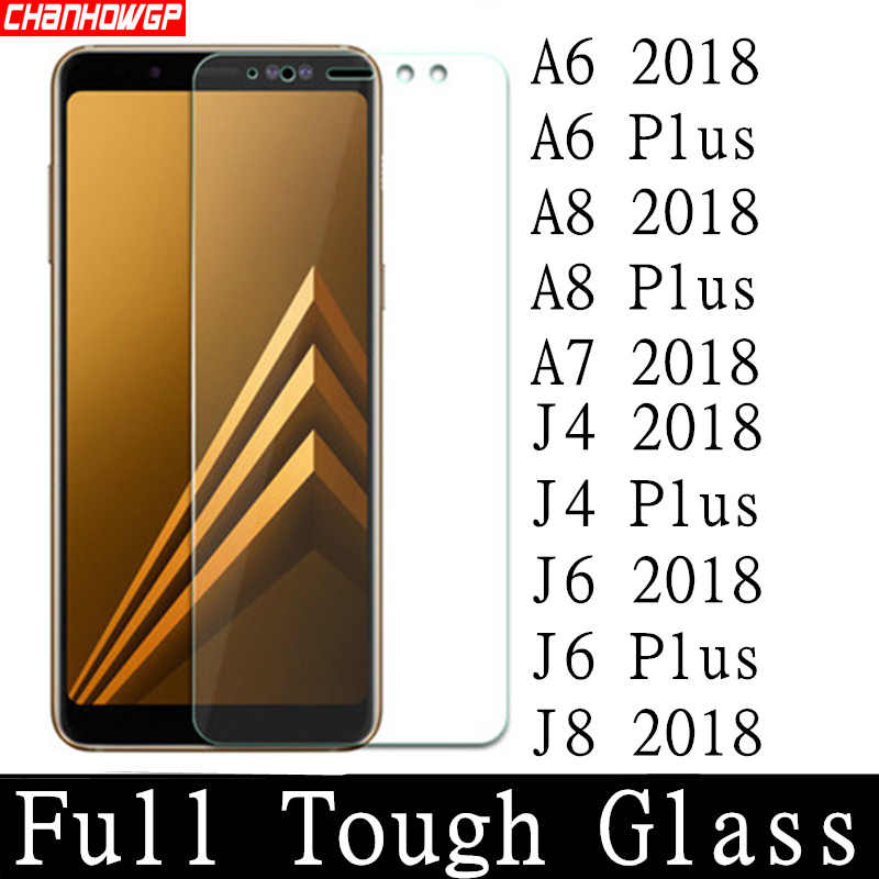 De vidrio templado para Samsung Galaxy A6 A7 A8 2018 Protector de pantalla para Samsung J8 J7 J6 J4 Plus 2018 funda protectora carcasa sklo 9H