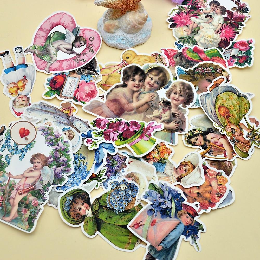 Купить с кэшбэком 25pcs Hand Drawing Flower Fairy retro sticker Decorative bullet journal stickers for Notebook Planner Scrapbooking DIY Paper