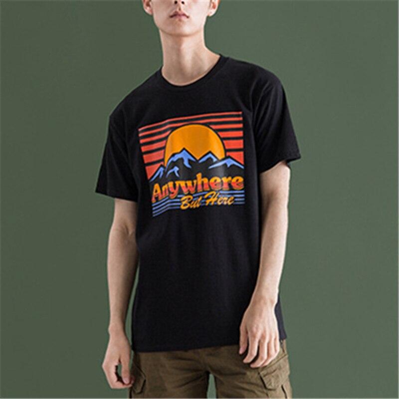 53ee13d64d5eb3 Goede Kopen Katoenen t shirt mannen zomer tops tees nieuwe casual Abstract  landschap afdrukken mannen korte mouwen casual T shirt Goedkoop.