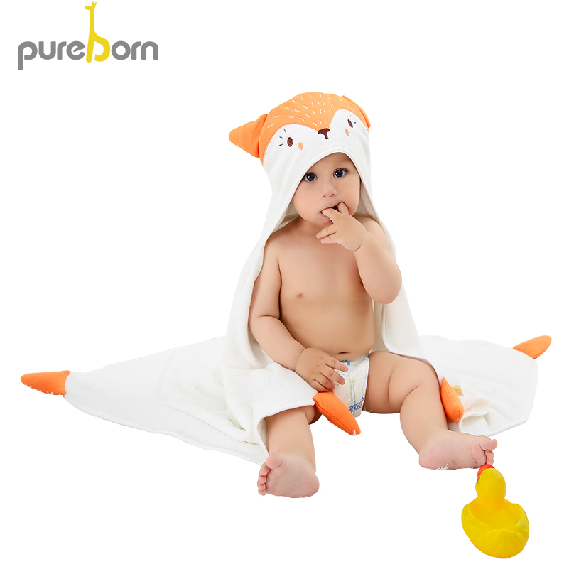 Pureborn do kąpieli dla dzieci ręcznik noworodka dla dzieci dziewczyny chłopcy z kapturem koce Cartoon zwierząt chłonne ręcznik kąpielowy dla dzieci łazienka