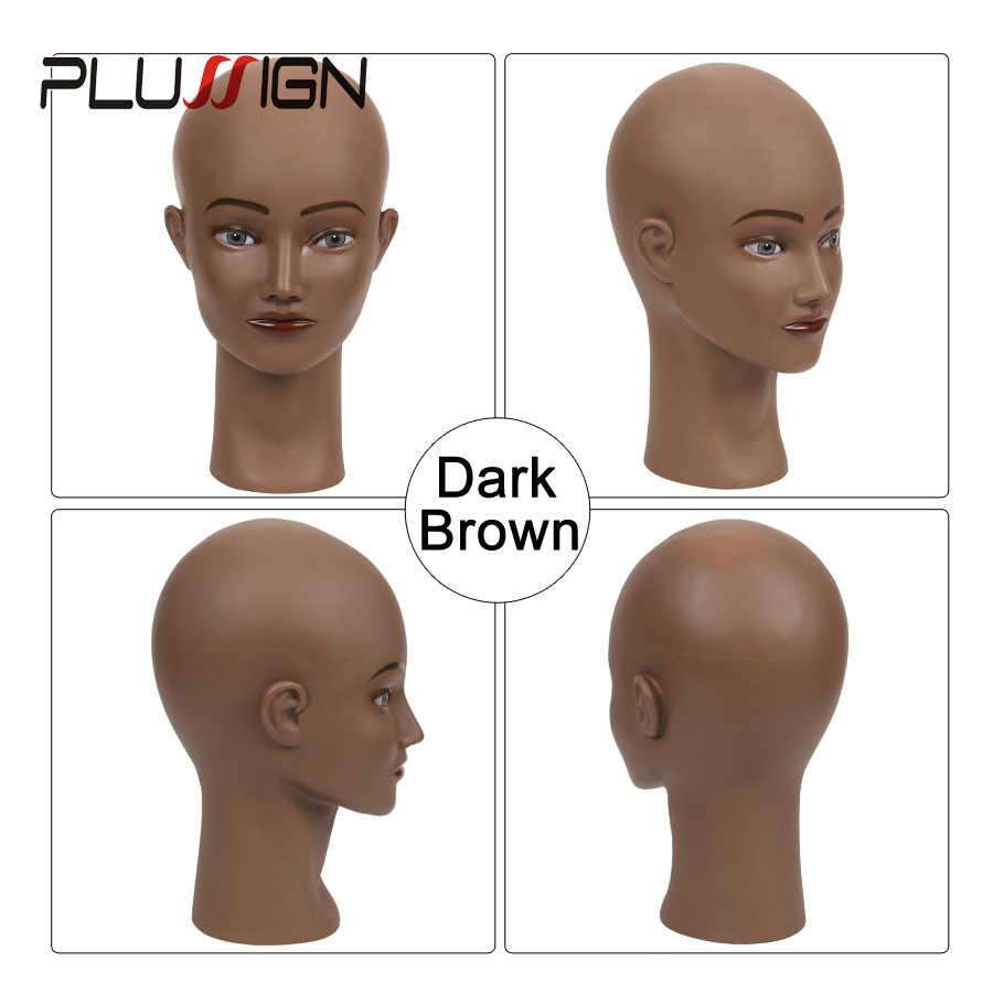 Лысый женский кометологический манекен голова обучения голова куклы голова для парика делая с бесплатной головкой стенд t-булавки черная кожа