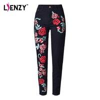 LIENZY Spring Black Women Embroidered Jeans 3D Rose Embroidered High Waist Boyfriend Women Denim Jeans Plus
