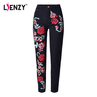 LIENZY Spring Black Women Embroidered Jeans 3D Rose Embroidered High Waist Boyfriend Women Denim Jeans Plus