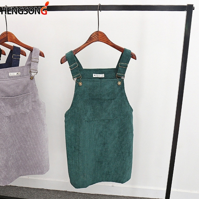 6959452d933 2018 Women Retro Corduroy Dress Autumn Spring Suspender Sundress Sarafan Loose  Vest Overall Dress Female Natural