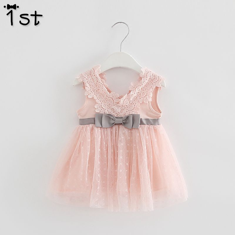 5dc36c62748d2 1st Retail-2018 summer newborn V-neck bow lace princess infant dress baby  girls dress Honey Baby clothes ball gown 3 color