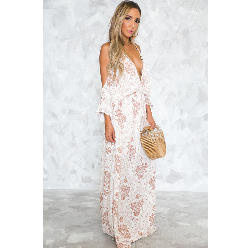d08a50a2ee8 Jessie Vinson Fashion Women Deep V neck Cold Shoulder Backless Print Strap Maxi  Dress Sexy Lace up Beach Plunge Long Dress-in Dresses from Women s Clothing  ...