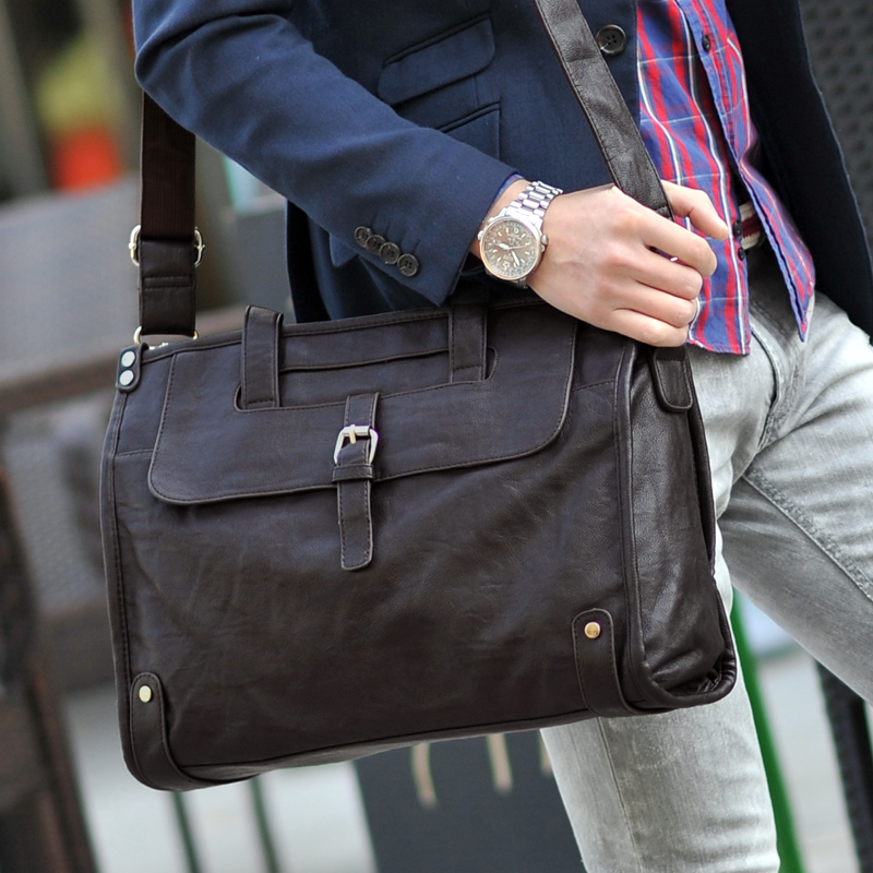 Black Coffee Thicken PU Leather Business Handbag Shoulder Bag Messenger Men Male Briefcase File Portfolio Ferramenta Men's Bag