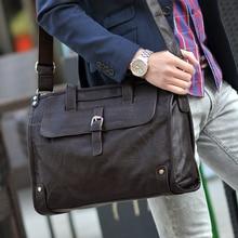 Купить с кэшбэком Black Coffee Thicken PU Leather Business Handbag Shoulder Bag Messenger Men Male Briefcase File Portfolio Ferramenta Men's Bag