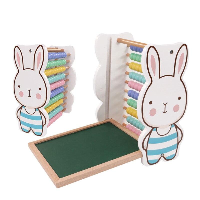 Dessin animé en bois pour enfants dessin animé lapin modèle calculs carnet de croquis double usage mathématiques jouets mathématiques aides pédagogiques