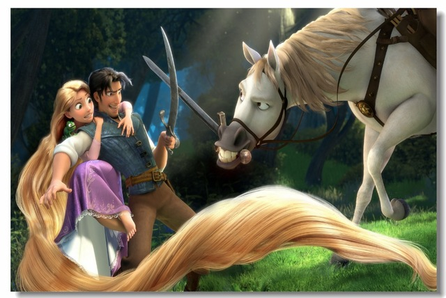 Custom Canvas Wall Painting Tangled Rapunzel Poster Wallpaper Kids Anime Sticker Cafe Bar Office