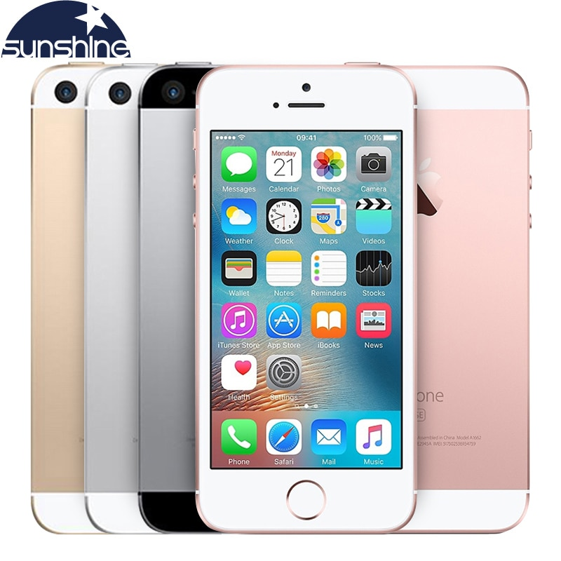 "Eredeti Unlocked Apple iPhone SE 4G LTE mobiltelefon iOS Touch ID lapkakészlet A9 Dual Core 2G RAM 16 / 64GB ROM 4.0 ""12.0MP Smartphone"