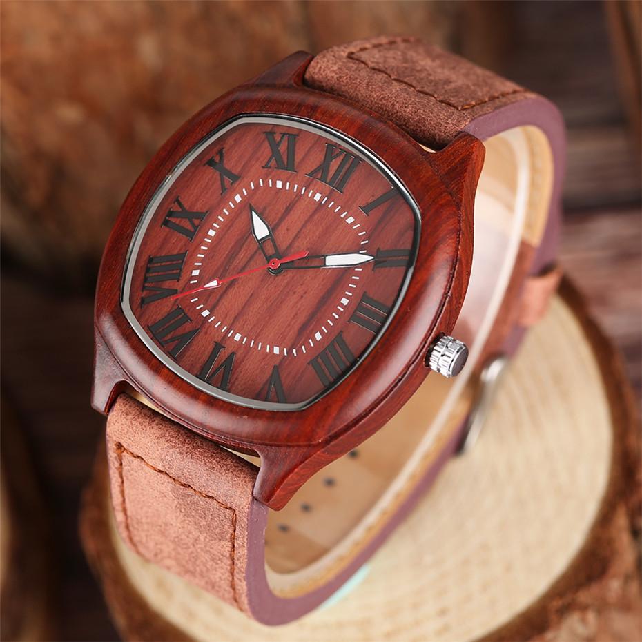 YISUYA Bamboo Wooden Watch Men Quartz Leather Band Analog Creative Watches Roman Numerals Dial Unqiue Shape Fashion Clock Gift (8)